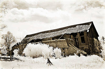 Surreal Infrared Sepia Old Crumbling Barn Landscape - The Passage Of Time Print by Kathy Fornal