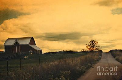 Surreal Barns Photograph - Surreal Michigan Farm Yellow Sky Rural Country Road Barn Landscape by Kathy Fornal