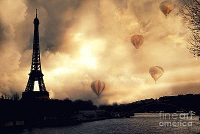 Surreal Paris Eiffel Tower Storm Clouds Sunset Sepia And Hot Air Balloons Print by Kathy Fornal