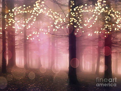 Surreal Pink Fantasy Fairy Lights Sparkling Nature Trees Woodlands - Pink Nature Sparkling Lights Print by Kathy Fornal