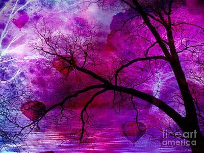 Surreal Abstract Fantasy Purple Pink Trees Hot Air Balloons Print by Kathy Fornal