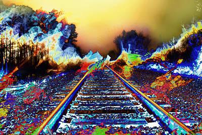 Surreal Railroad Tracks In Radioactive Mist Print by Elaine Plesser