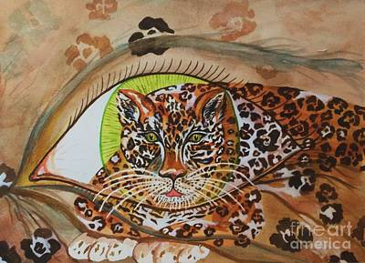 Jungle Cat Painting - Surreal- Shamans Eye- Shapeshifting Jaguar by Ellen Levinson