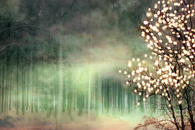 Surreal Sparkling Fantasy Nature - Green Sparkling Lights Trees Forest Woodlands Print by Kathy Fornal