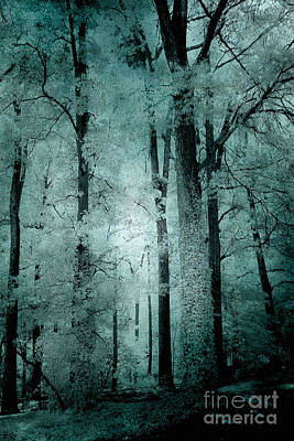 Surreal Trees Fantasy Dark Eerie Haunting Teal Green Woodlands Forest - Lost In The Woods Print by Kathy Fornal