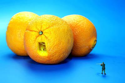 Surrender Mr. Oranges Little People On Food Print by Paul Ge