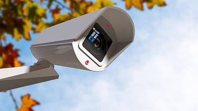 Surveillance Camera In The Daytime Print by Allan Swart