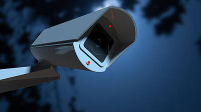 Surveillance Camera In The Night-time Print by Allan Swart