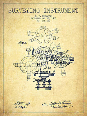 Old Blueprint Digital Art - Surveying Instrument Patent From 1901 - Vintage by Aged Pixel