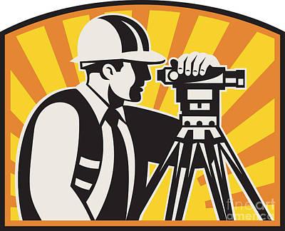 Workers Digital Art - Surveyor Engineer Theodolite Total Station Retro by Aloysius Patrimonio