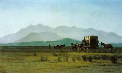 Surveyors Wagon In The Rockies Print by Albert Bierstadt