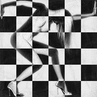 Survive Nude Woman Checkered 4 Print by Tony Rubino