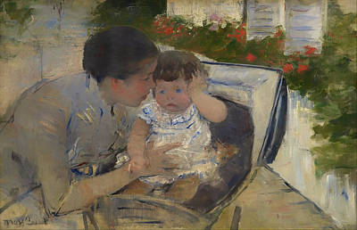 Baby Carriage Painting - Susan Comforting The Baby by Mountain Dreams