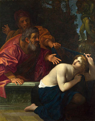 Ludovico Carracci Painting - Susannah And The Elders by Ludovico Carracci