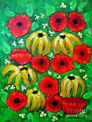 Black Eye Susan Painting - Susans And Poppies by Sarah Loft