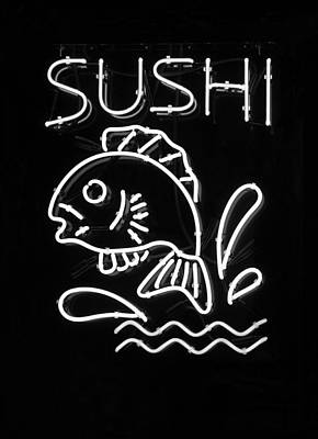 Metal Fish Art Photograph - Sushi In Black And White by Suzanne Gaff
