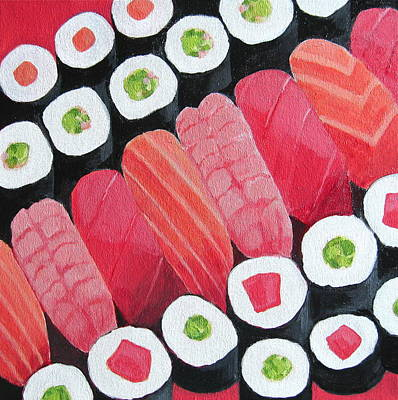 Salmon Painting - Sushi by Toni Silber-Delerive