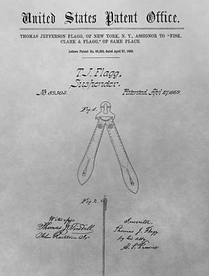 Thomas Jefferson Drawing - Suspender Patent Drawing by Dan Sproul