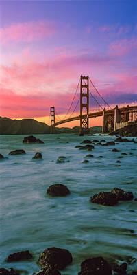 Built Structure Photograph - Suspension Bridge Across A Bay At Dusk by Panoramic Images