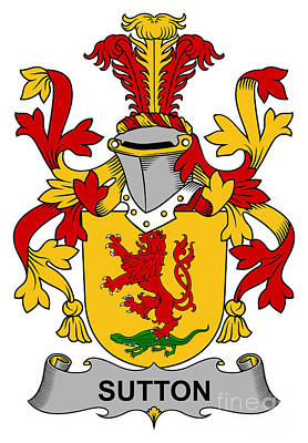 Sutton Digital Art - Sutton Coat Of Arms Irish by Heraldry