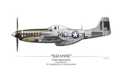 Airplane Painting - Suzanne P-51d Mustang - White Background by Craig Tinder