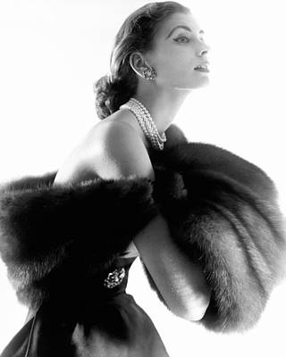 Personalities Photograph - Suzy Parker Modeling Fur Stole by Horst P. Horst