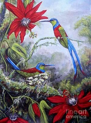 Passiflora Painting - Swallowtail Hummingbirds by Amanda Hukill