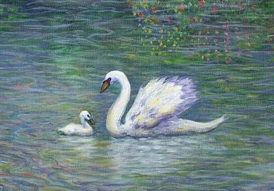 Swans Painting - Swan And One Baby by Linda Mears