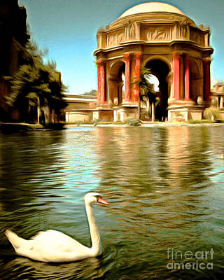 Swan Digital Art - Swan At The San Francisco Palace Of Fine Arts 5d18069 Vertical by Wingsdomain Art and Photography
