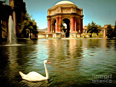 Swan Digital Art - Swan At The San Francisco Palace Of Fine Arts 5d18069 by Wingsdomain Art and Photography