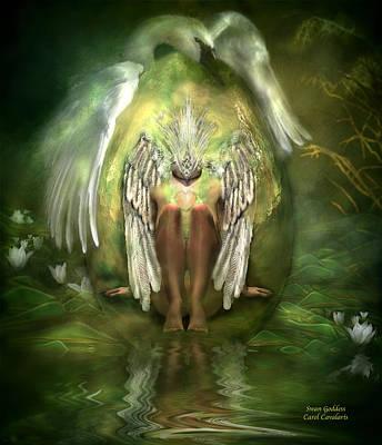 Goddess Digital Art Mixed Media - Swan Goddess by Carol Cavalaris