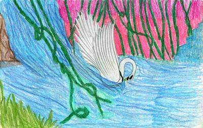 Super Swan Print by Kd Neeley