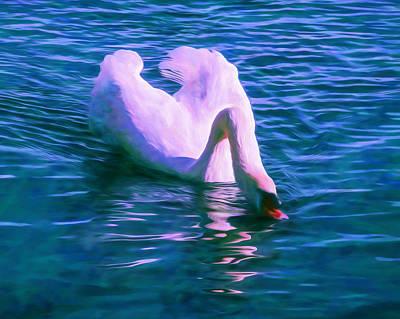 Birds Mixed Media - Swan Quench Art by Priya Ghose
