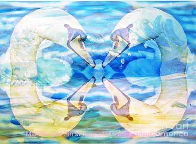 Forgiveness Painting - Swan Silhouette by PainterArtist FIN