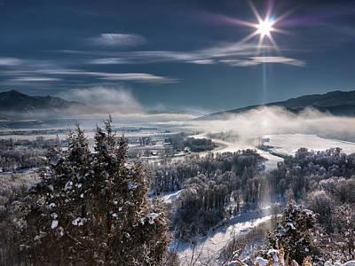 Swan Valley Winter Print by Leland D Howard