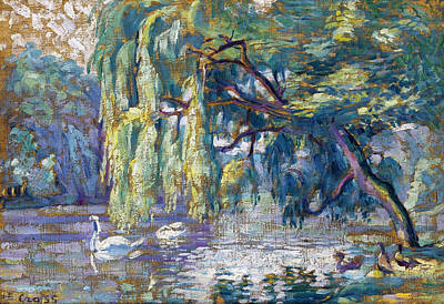 Swans... Painting - Swans Family . Forest Of Boulogne  by Henri-Edmond Cross