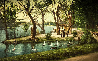 Old Time Painting - Swans In The Park by John K Woodruff
