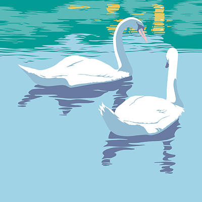 Swans On The Lake And Reflections Absract - Square Format Original by Walt Curlee
