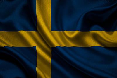 Waving Flag Mixed Media - Swedish Flag Waving On Canvas by Eti Reid