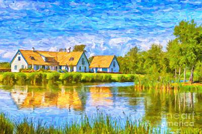 Sweden Digital Art - Swedish Lakehouse by Antony McAulay