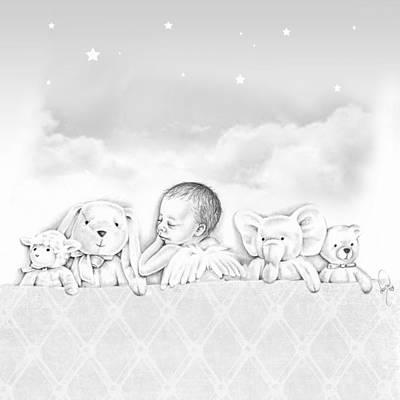 Baby Angel Drawing - Sweet Dreams  by Dana Klein