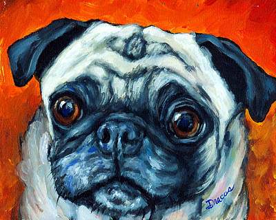 Fawn Pug Painting - Sweet Faced Pug by Dottie Dracos