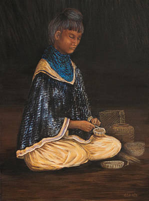 Seminole Baskets Painting - Sweet Grass Artisan by Nancy Lauby