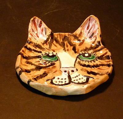 Sculpture - Sweet Kitty Dish by Debbie Limoli