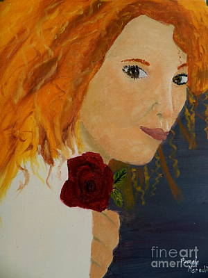 Sweet Lady Holding A Rose Print by Pamela  Meredith