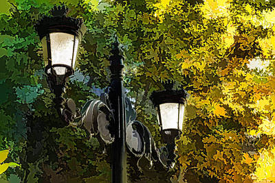 Sweet Old-fashioned Streetlights - Impressions Of Fall Print by Georgia Mizuleva