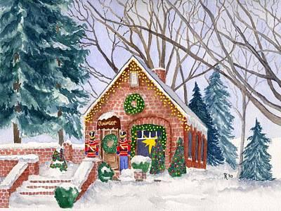 New England Snow Scene Painting - Sweet Pierre's Chocolate Shop by Rhonda Leonard