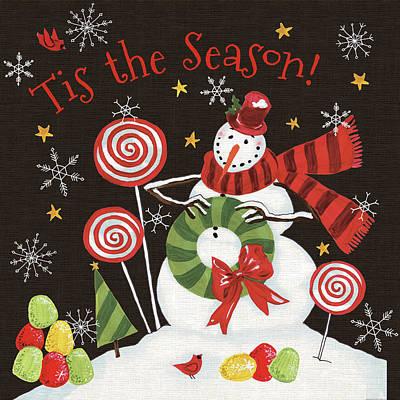 Ti Painting - Sweet Snowmen IIi Black by Anne Tavoletti