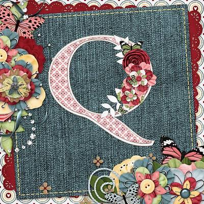 Flower Digital Art - Sweet Surprises Monogram Letter  Q by Debra  Miller