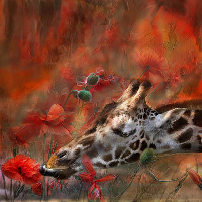 Giraffe Mixed Media - Sweet Taste Of Spring by Carol Cavalaris